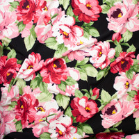 Pink, Green, and Yellow Large Floral on Black Liverpool Fabric By The Yard - Wide shot