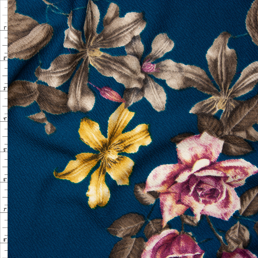 Plum, Taupe, and Yellow Floral on Teal Liverpool Knit Fabric By The Yard