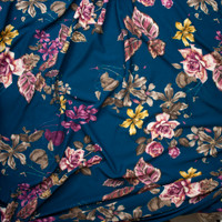 Plum, Taupe, and Yellow Floral on Teal Liverpool Knit Fabric By The Yard - Wide shot