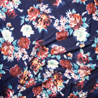 Plum, Dusty Aqua, and Tan Floral on Navy Blue Liverpool Knit Fabric By The Yard - Wide shot
