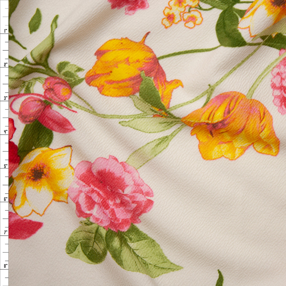 Cali Fabrics Red Yellow And Pink Floral On Ivory Liverpool Knit