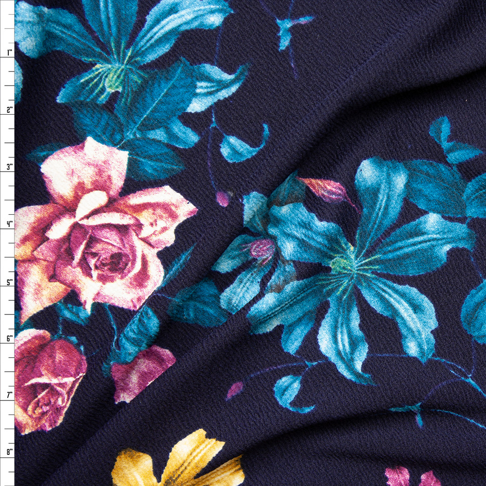 Plum, Teal, and Yellow Floral on Midnight Blue Liverpool Knit Fabric By The Yard
