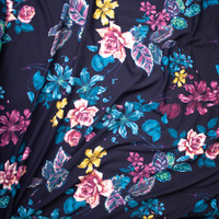 Plum, Teal, and Yellow Floral on Midnight Blue Liverpool Knit Fabric By The Yard - Wide shot