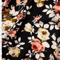 Pink, Grey, and Ivory Floral on Black Liverpool Knit Fabric By The Yard