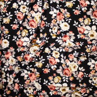 Pink, Grey, and Ivory Floral on Black Liverpool Knit Fabric By The Yard - Wide shot