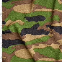 Green, Brown, Black, and Tan Classic Camouflage Liverpool Knit Fabric By The Yard