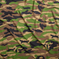 Green, Brown, Black, and Tan Classic Camouflage Liverpool Knit Fabric By The Yard - Wide shot