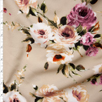 Plum, Peach, and Dark Green Floral on Light Tan Liverpool Knit Fabric By The Yard
