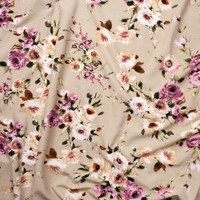 Plum, Peach, and Dark Green Floral on Light Tan Liverpool Knit Fabric By The Yard - Wide shot