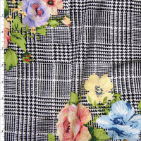 Peach, Yellow, and Light Blue Floral Clusters on Black and White Houndstooth Plaid Liverpool Knit Fabric By The Yard