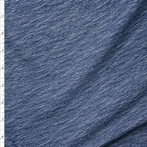 Navy Blue Denim Like Diagonal Stripe on White Liverpool Knit Fabric By The Yard
