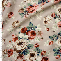 Peach, Ivory, and Sage Floral on Light Tan Liverpool Knit Fabric By The Yard