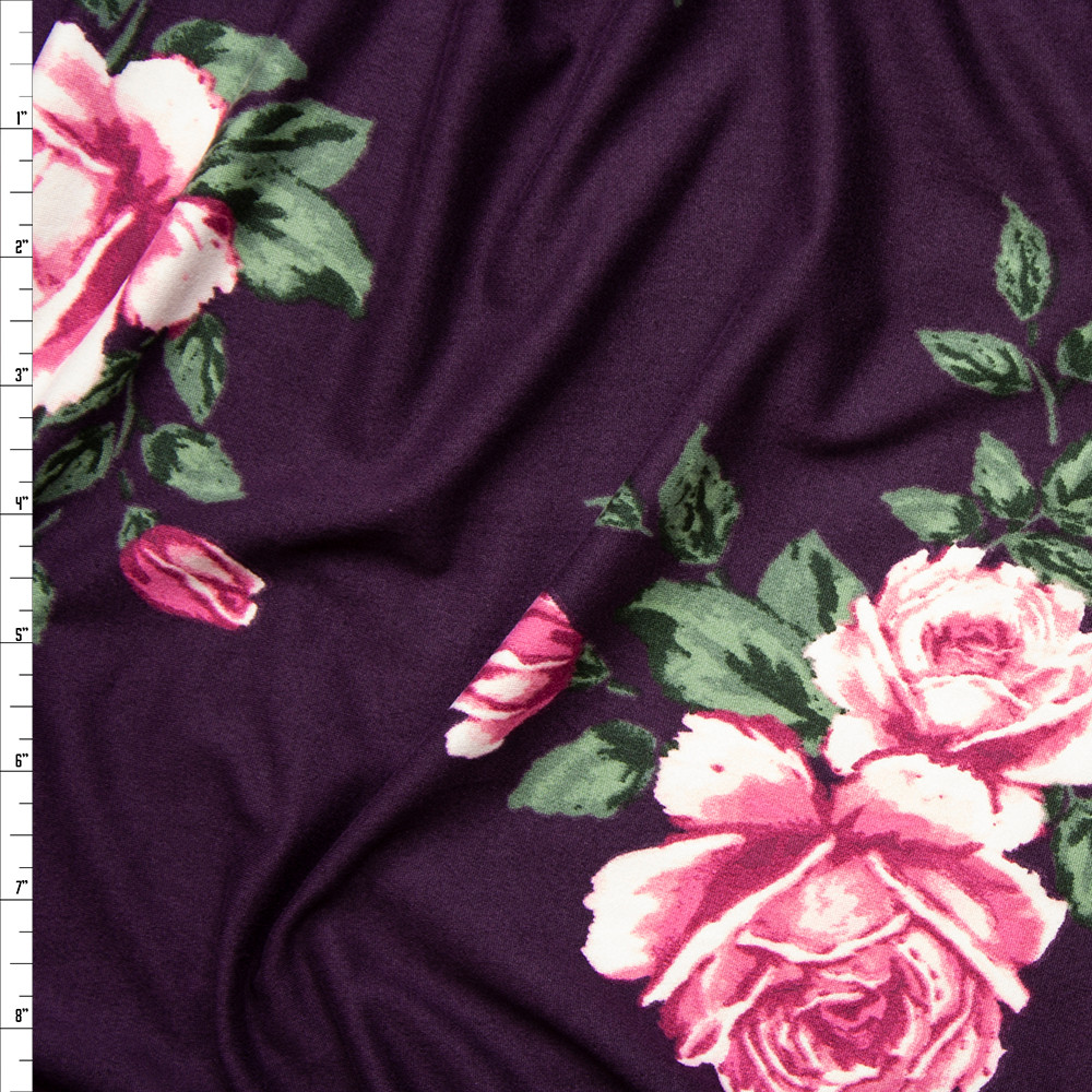 Pink and Sage Rose Floral on Eggplant Double Brushed Poly Spandex Fabric By The Yard