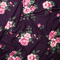 Pink and Sage Rose Floral on Eggplant Double Brushed Poly Spandex Fabric By The Yard - Wide shot