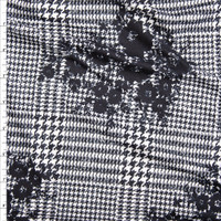 Black Floral Silhouette on Black and White Houndstooth Plaid Double Brushed Poly Spandex Fabric By The Yard