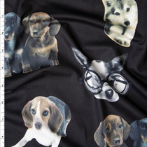 Cute Dog Photo Cutouts on Black Brushed Poly Spandex Fabric By The Yard