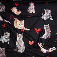Kitten Photo Cutouts and Hearts on Black Brushed Poly Spandex Fabric By The Yard - Wide shot