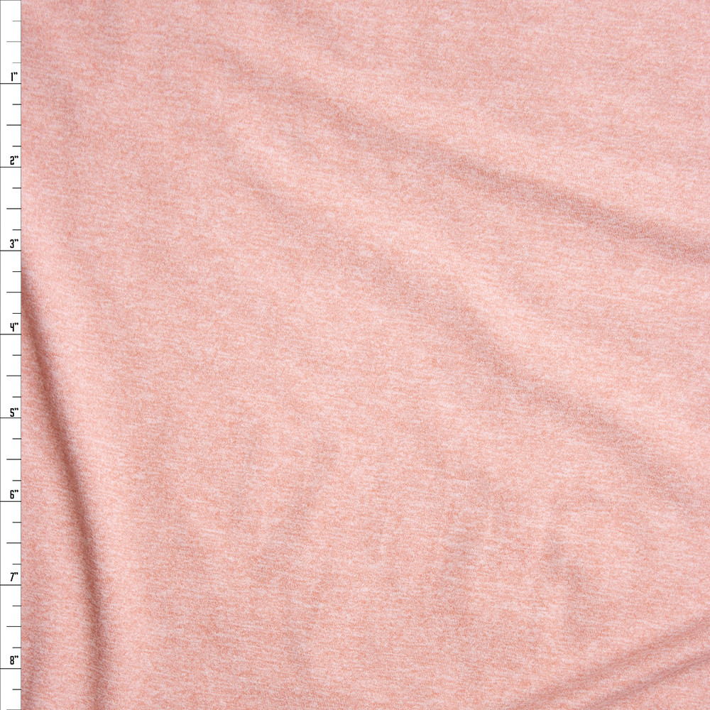 Blush Heather Double Brushed Poly Spandex Fabric By The Yard