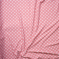 White on Dusty Pink Polka Dot Liverpool Knit Fabric By The Yard - Wide shot