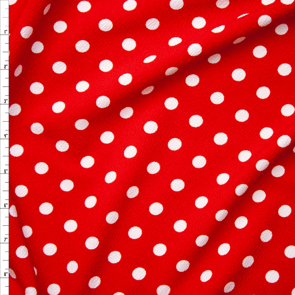 White on Red Polka Dot Liverpool Knit Fabric By The Yard