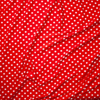 White on Red Polka Dot Liverpool Knit Fabric By The Yard - Wide shot