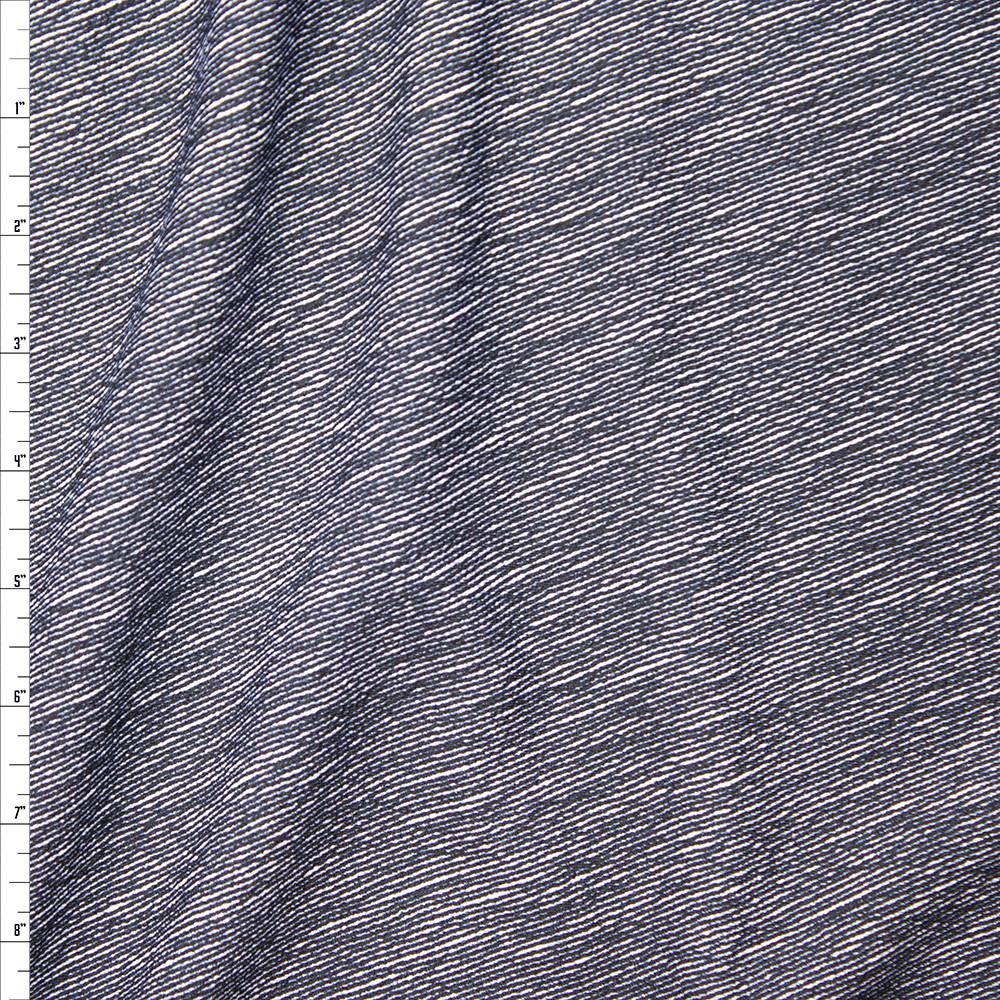 Black Denim Like Diagonal Stripe on White Liverpool Knit Fabric By The Yard