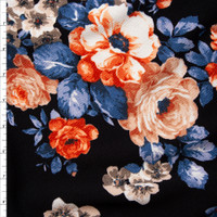 Orange, Teal, and Taupe Floral on Black Liverpool Knit Fabric By The Yard