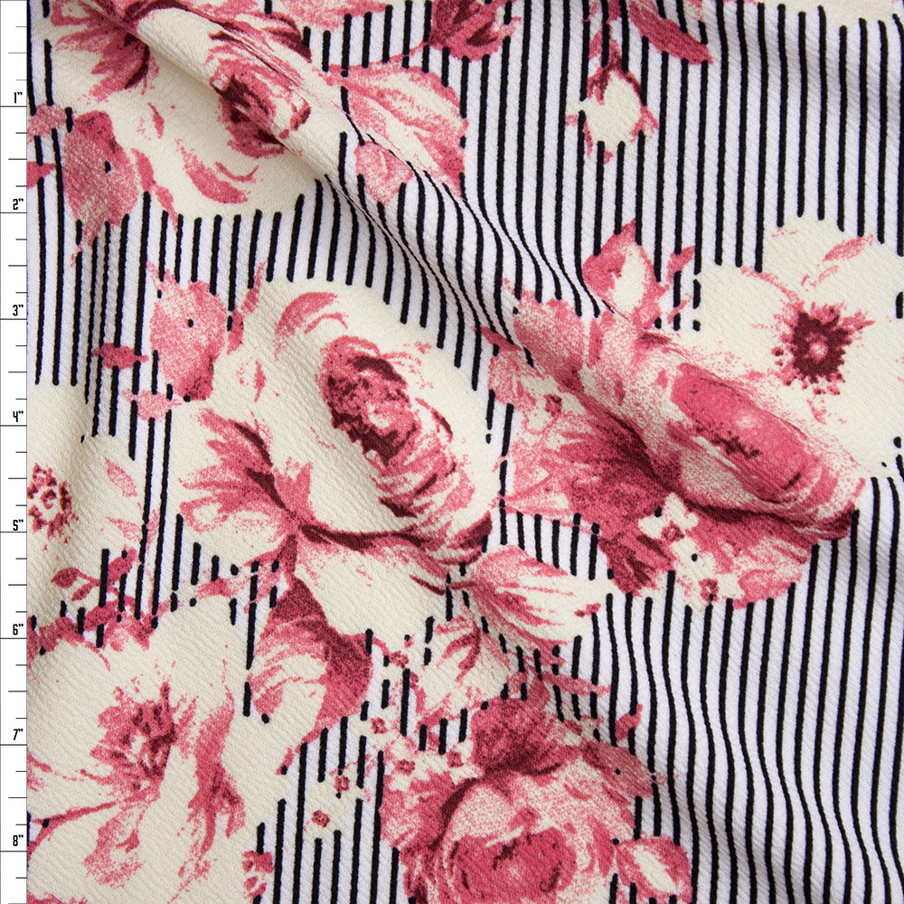 Pink and Ivory Flowers on Black and White Vertical Stripes Liverpool Knit Fabric By The Yard