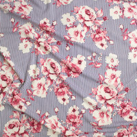 Pink and Ivory Flowers on Black and White Vertical Stripes Liverpool Knit Fabric By The Yard - Wide shot