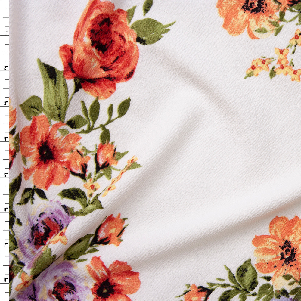 Red, Orange, and Lavender Floral on Offwhite Liverpool Knit Fabric By The Yard
