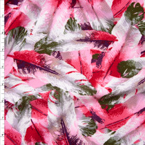 Pink, White, Olive, and Plum Feathers Liverpool Knit Fabric By The Yard