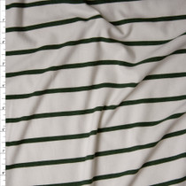 Olive Green Horizontal Pencil Stripes on Offwhite Double Brushed Poly Spandex Fabric By The Yard