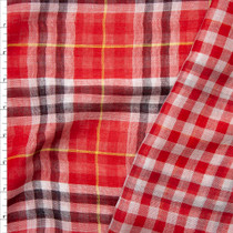Picnic on the Farm Reversible Plaid Lightweight Double Gauze Fabric By The Yard