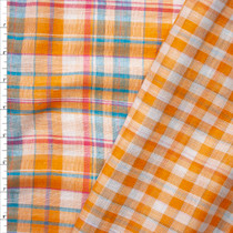 Summer on the Cape Reversible Plaid Lightweight Double Gauze Fabric By The Yard