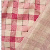 Pink and Ivory Plaid Reversible Lightweight Double Gauze Fabric By The Yard