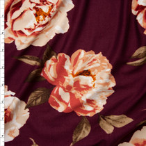 Peach Roses on Burgundy Double Brushed Poly Spandex Fabric By The Yard