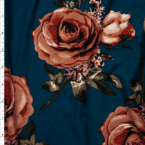 Terracotta Roses on Teal Double Brushed Poly Spandex Fabric By The Yard