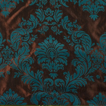 Brown & Teal Flocked Taffeta