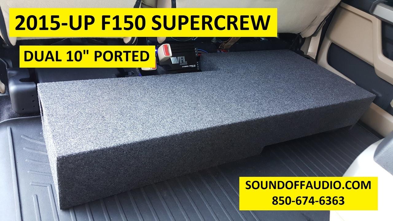 Dual 10/'/' Subwoofer Enclosure Sub Box 2009-2018 Ford F150 Crew Cab Super Crew