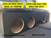 "2019 - up Silverado Crew Cab Quad 8"" ported subwoofer box"