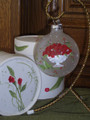 Handpainted Ornament - Silver Bowl w/ Red Roses