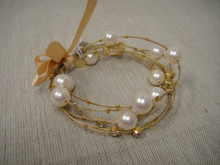 Set of six 24K gold plated wire bracelets adorned in crystal and pearls for timeless beauty!  You will love updating and mixing with your classic pearls with this gorgeous look or adding our coordinating necklace and earrings.  The bracelets are lightweight, flexible, and resilient.  (average wrist sizing).