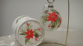 Handpainted Poinsettia/Pinecone Glass Ornament/Box