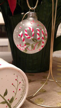 Handpainted Candy Cane Joy Branch Ornament with handpainted box.