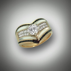 R 565 has been modified to have a 3/4 carat diamond solitaire in center with pave' set diamonds.  Hand carved mother of pearl borders them.  The edges were filled with Black Diamonds that are channel set.
