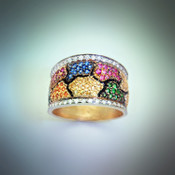 R 1073 Multi color sapphires with some green tsavorites, and pave` F/VS diamonds on each border.