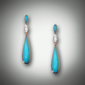 These beautiful earrings are shown here with a Marquis Diamond and Turquoise, and are also available in Mother-of-Pearl or Black Jade.  In medium or large.  Medium is about an inch and a half and large is about 2 inches.