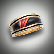 RB 2 suede ring with different color jaspers and a different inlay pattern.