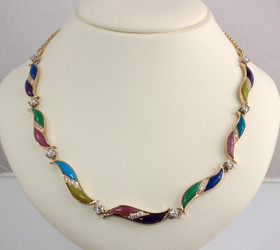 N-34 Colors.  Women's multi-stone necklace with 1.04ct total F/VS diamonds set in 14kt yellow gold.  Stone inlay includes lavulite, lapis, chrysoprase, rhodinite, turquoise, gem silica, and lime opalite.