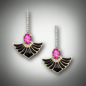 ER-212 earrings have a 8x6mm oval pink topaz hanging from a row of 12-F/VS pave` diamonds with a 1/2 circle of 5-F/VS pave` diamonds and 9 hand carved inlay pieces of black jade set in 14kt yellow gold.  The row of diamonds are set in 14kt white gold.
